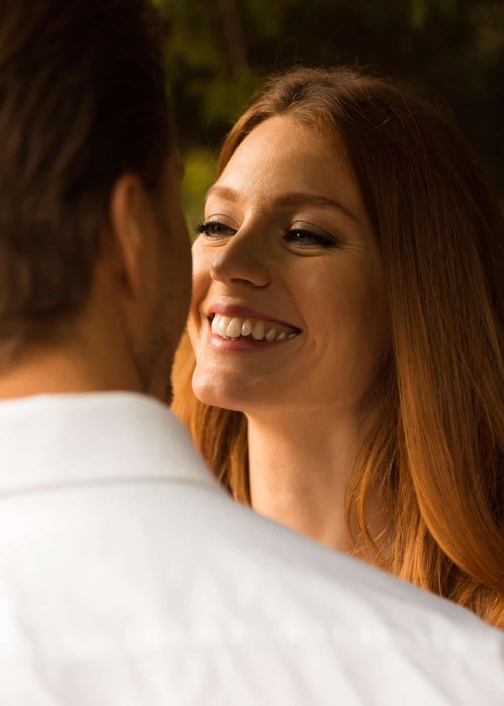 close up of happy bride