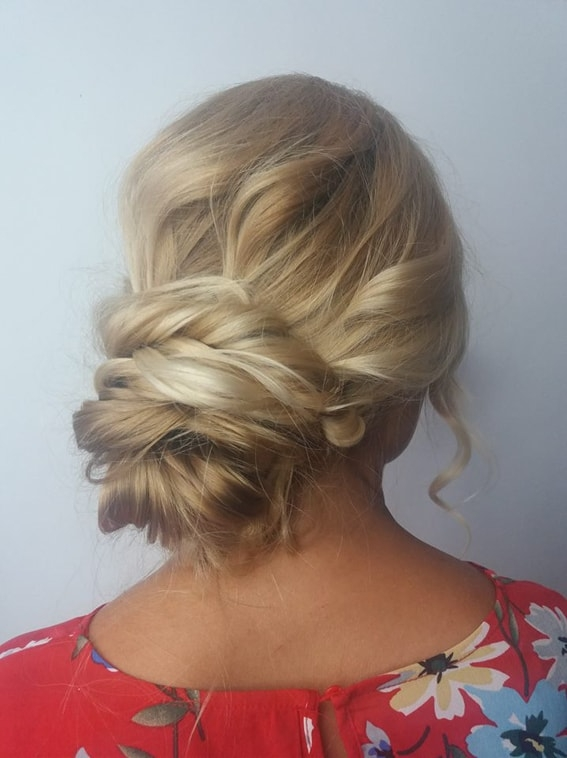 close up of loose twisted updo