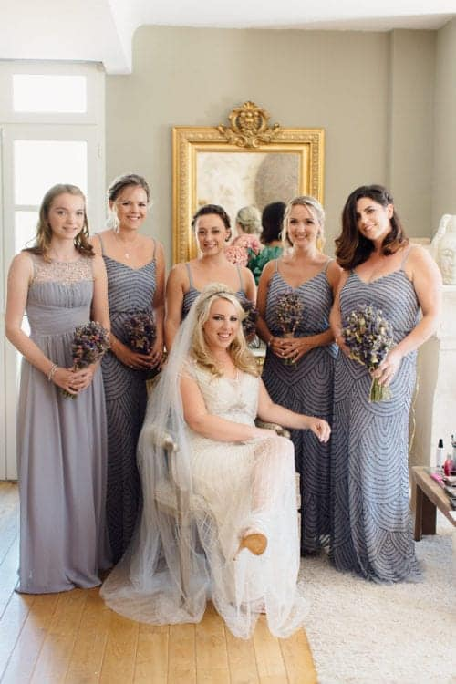 group portrait of bride and her bridesmaid's in south of france