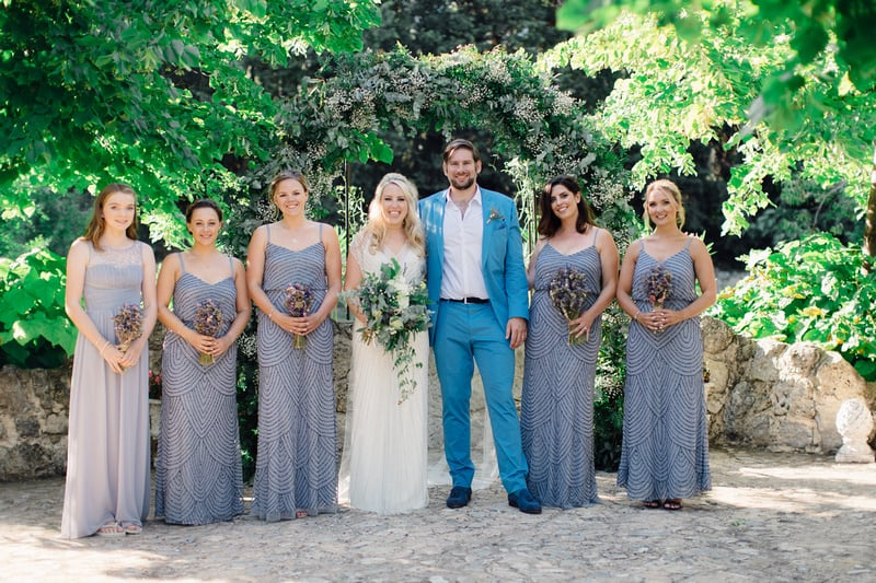 bridal party in vineyard in south of france