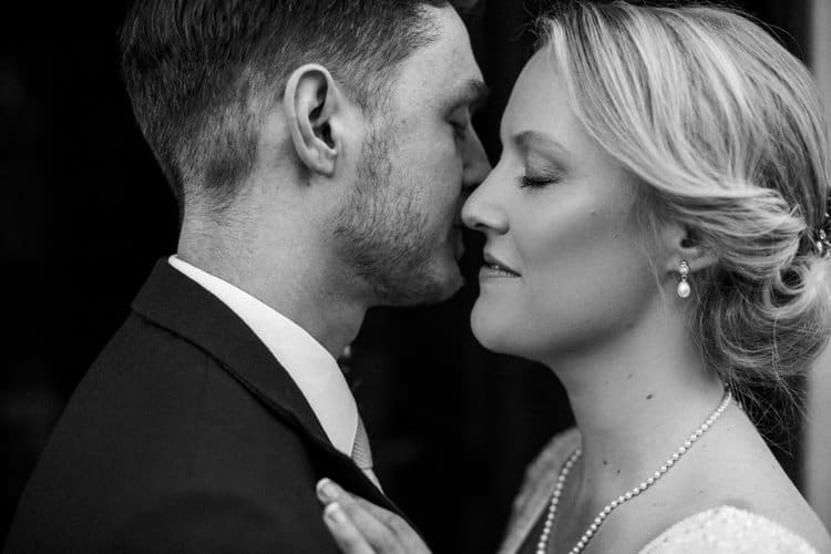 black and white portrait of vintage inspired bride and groom