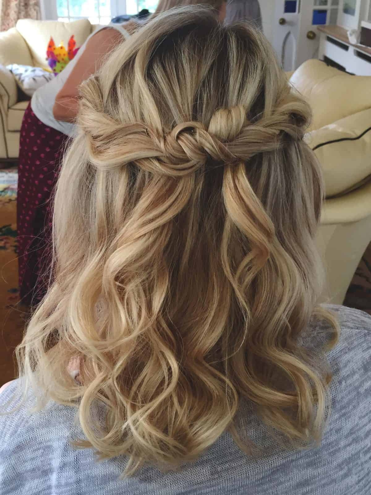 twisted half up do by wedding hairstylist Becky