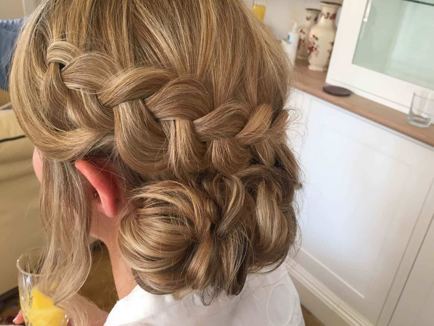 close up of bridal updo with braid
