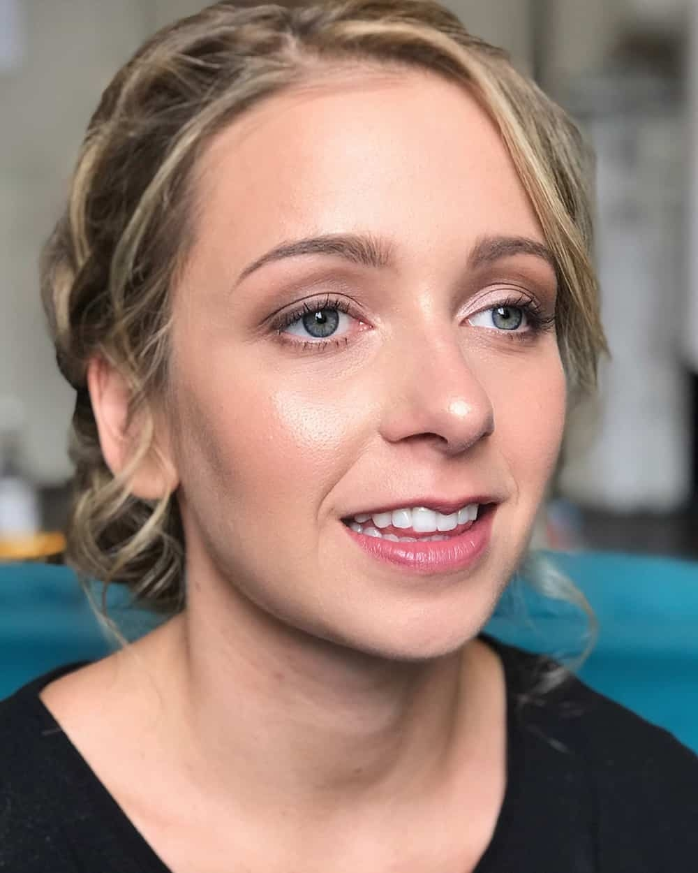 close up of natural makeup for bridesmaid