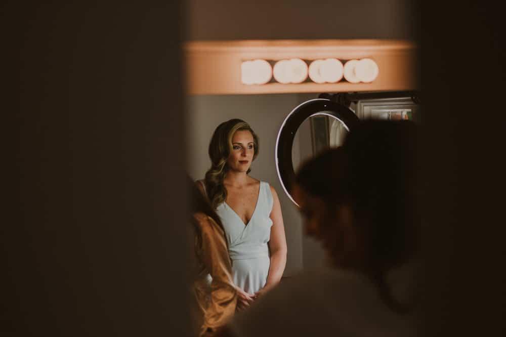 beautiful bride illuminated by ring light