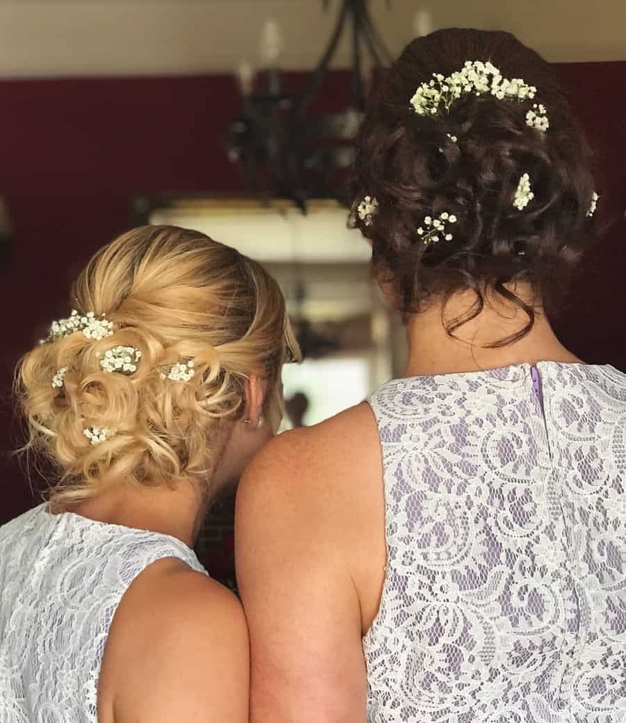 bridesmaid hair updo with flowers by wedding hair and makeup artist chloe
