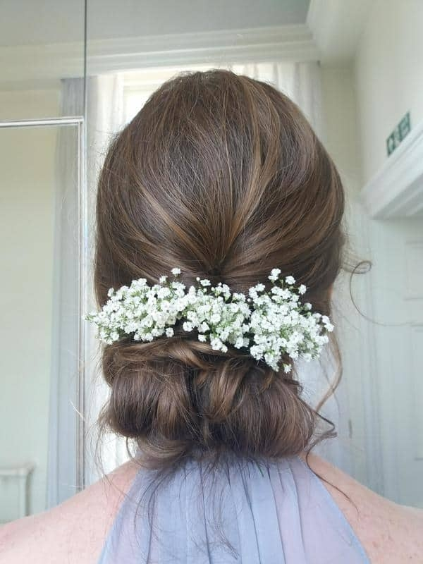 close up of bridal chignon with gypsophila