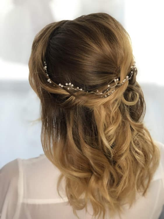 wedding hair half up style by wedding hair and makeup artist Alice