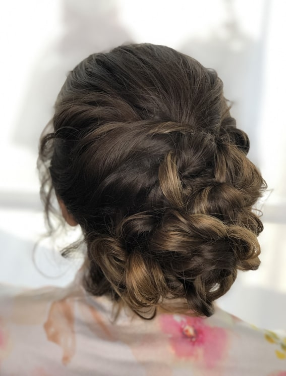 bridal updo by wedding hair and makeup artist Alice