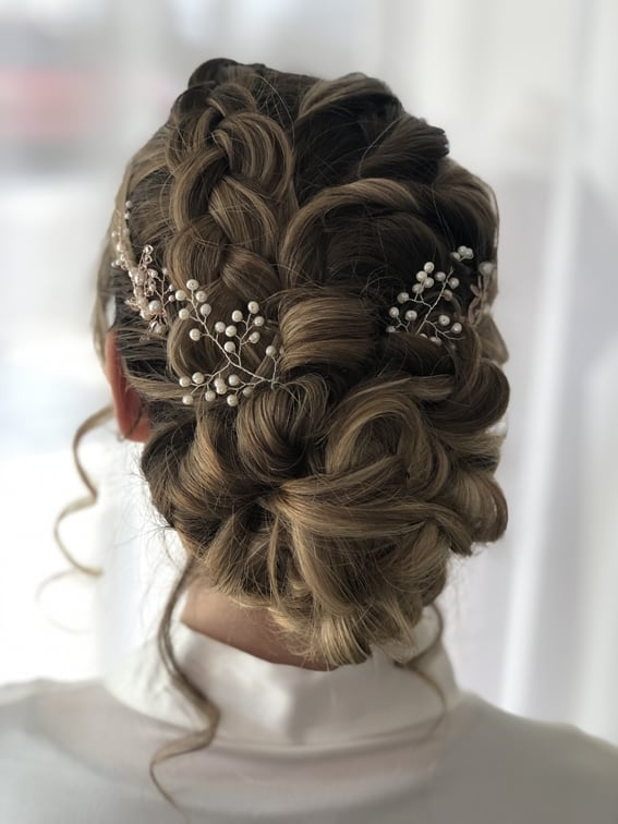 boho braided up do by wedding hairstylist Alice