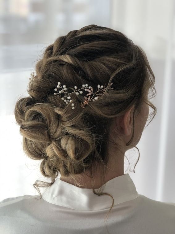 bridal updo by wedding hairsylist Alice