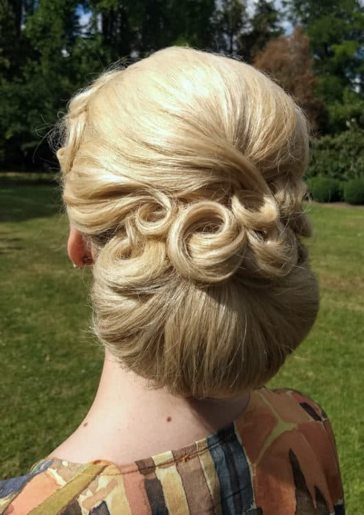 vintage bridal updo by wedding hairstylist Alice