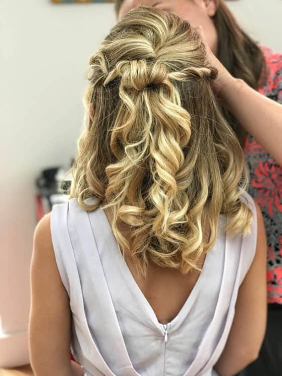 bridal half up wedding hair by wedding hair and makeup artist Alice