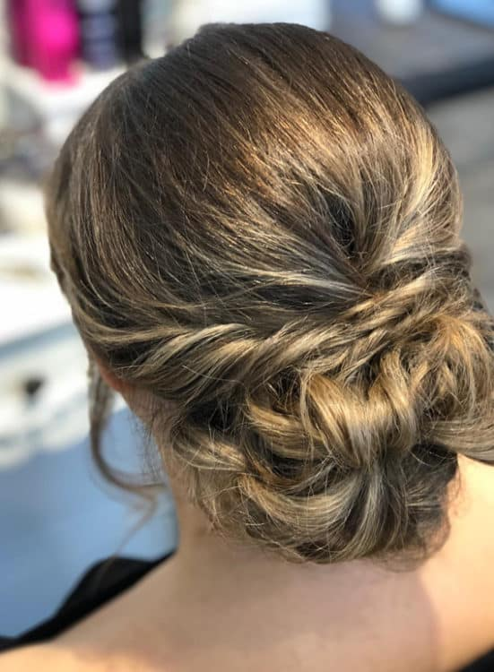relaxed bridal updo by wedding hair and makeup artist Alice