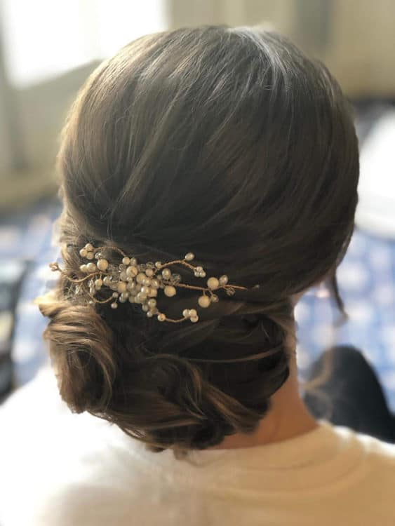 bridal hair with accessory by wedding hair and makeup artist Alice